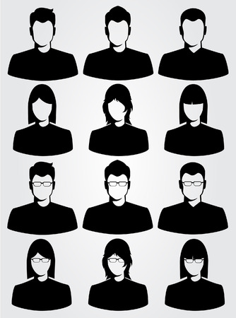 Illustration for silhouette business man and woman - Royalty Free Image