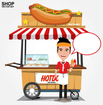hot dog street cart with seller.vector