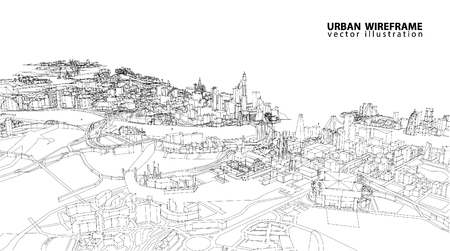 Illustration for Cityscape Vector Sketch. Architecture - Illustration - Royalty Free Image