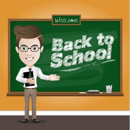 Illustration pour Vector illustration of a teacher and classic chalkboard in classroom - image libre de droit
