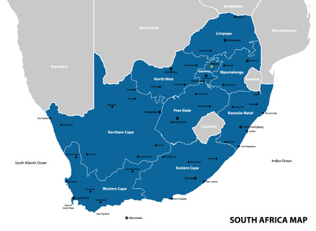 Ilustración de South Africa map and flag - highly detailed vector illustration - Imagen libre de derechos