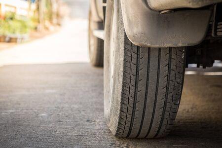 Photo pour Off-road wheels on the road - image libre de droit