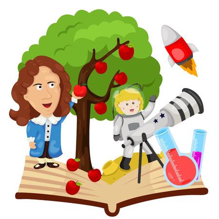 Illustration pour Illustrator of Sir Isaac Newton - image libre de droit