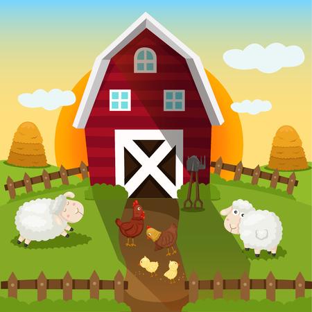 Illustrator of farm and sunset