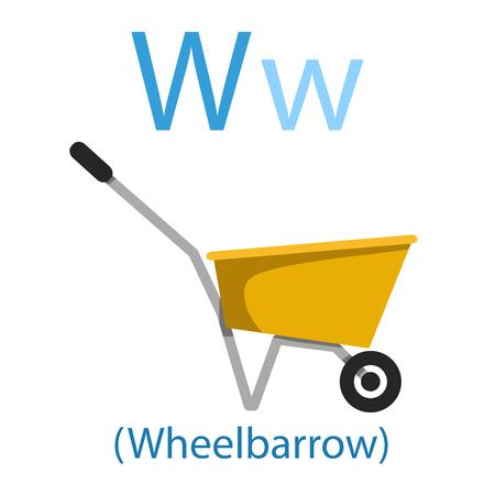 Illustration for Illustrator of W for Wheelbarrow - Royalty Free Image