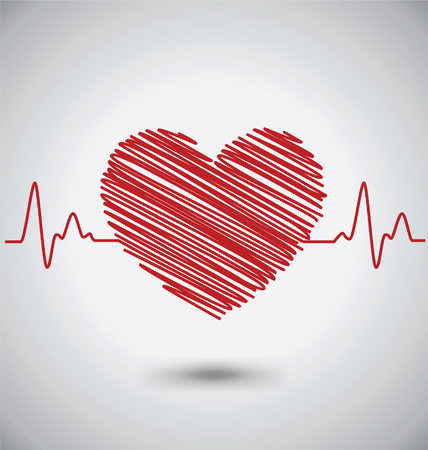 Heartbeat With Heart Shape and EKG, Medical Concept