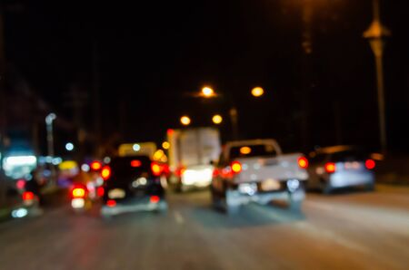 Photo pour Abstract blur at night car and traffic jam - image libre de droit
