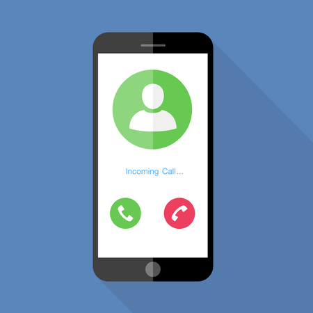 Flat design the smartphone with incoming call on screen