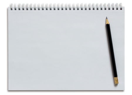 blank white spiral notebook and pencil isolated on white