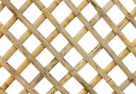 Photo for bamboo fence or cage on white background with clipping path - Royalty Free Image