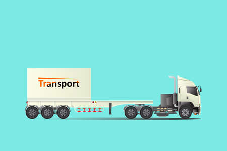 Illustration for Trailer truck tow truck, hire cargo. Big car Logistic transport.easy to edit vector template. - Royalty Free Image