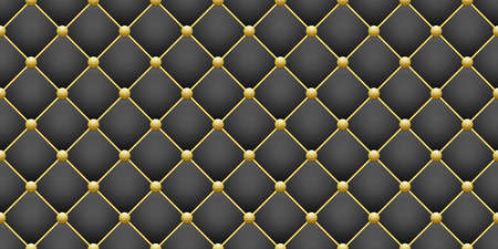 Illustration pour shiny gold round and black square rhombus geometric seamless pattern background, glitter golden button and dark leather upholstery texture, close-up stock vector illustration design element backdrop - image libre de droit