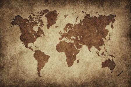 World map in vintage pattern