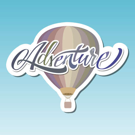 Adventure hot Air Baloon lettering sticker.