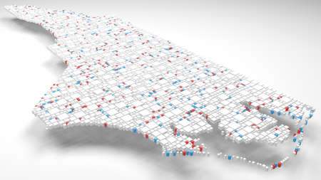 3D Map of North Carolina - USA | 3d Rendering, mosaic of little bricks - White and flag colors. A number of 3838 little boxes are accurately inserted into the mosaic
