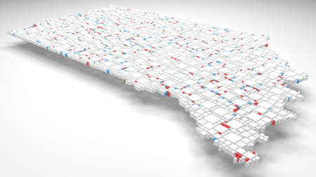 3D Map of Indiana - USA | 3d Rendering, mosaic of little bricks - White and flag colors. A number of 3830 little boxes are accurately inserted into the mosaic