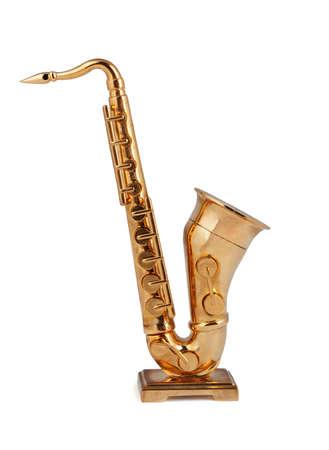 Photo pour Saxophone figurine on a white background - image libre de droit