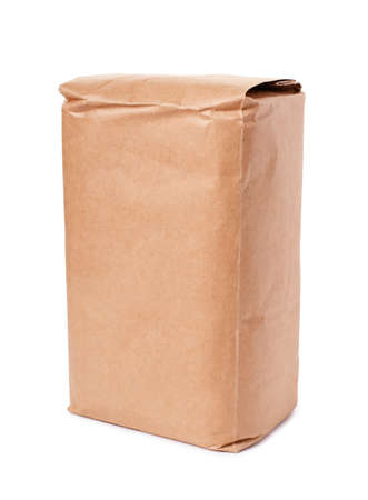 Foto de Blank brown craft paper bag isolated on white background - Imagen libre de derechos