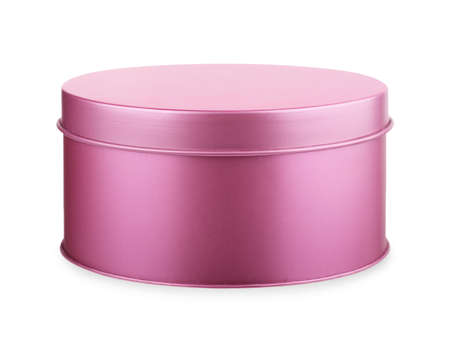 Foto de Metal purple, pink round box on a white background - Imagen libre de derechos
