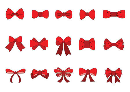 Illustration for set of Red bow for celebration christmas and birthday, flat design isolated on white background,bow  for business and design. Design elements - Royalty Free Image