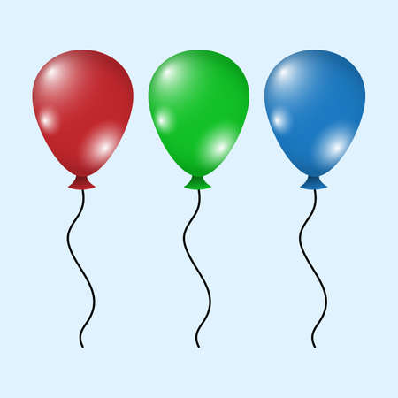 Illustration for set of colorful  balloons  flat design style,. Happy Birthday, holidays, party concept, Trendy vector helium balloon symbol for website, web button, mobile app. illustration. - Royalty Free Image
