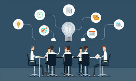 Illustration for business teamwork meeting and brainstorm concept - Royalty Free Image