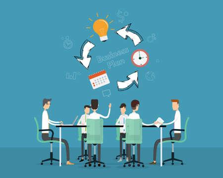 Illustration pour people business meeting ana planning project timeline - image libre de droit