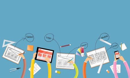 business teamwork and brainstorming for web and application layout design workspace