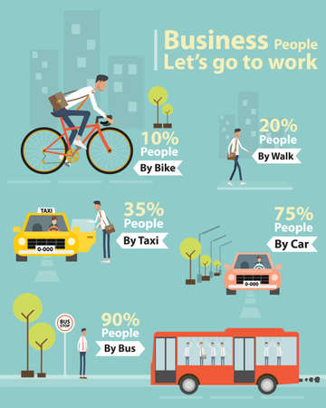 Illustration pour infographic business people let\'s go to work character - image libre de droit