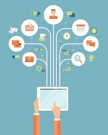 Illustration pour business online shopping . mobile online connection concept - image libre de droit
