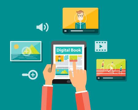 business digital book and digital magazine concept