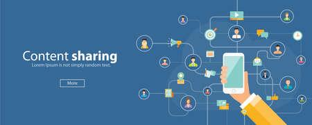 Illustration pour business content sharing on mobile concept.mobile social network connection .web banner - image libre de droit