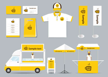 Illustration pour concept  corporate branding identity mock up template for coffee shop and restaurant. card .menu.polo shirt.vector.yellow - image libre de droit