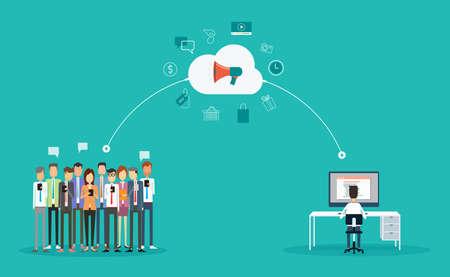 Illustration pour digital marketing connection on-line concept.marketing on cloud .Announce on-line.group people business - image libre de droit