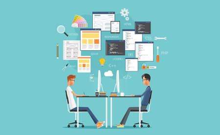 Illustration for graphic design and web developer working on workplace. develop for website and application - Royalty Free Image