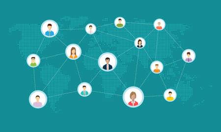 Ilustración de business social network connection online concept - Imagen libre de derechos