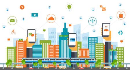 Illustration for business smart city.internet connection.social concept - Royalty Free Image