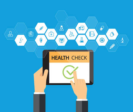Photo for health check online in tablet device Medical and health concept - Royalty Free Image