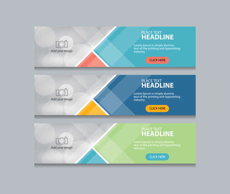 Illustration for flat abstract web banner design template background - Royalty Free Image