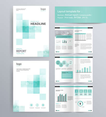 Illustration pour page layout for company profile, annual report, brochure, and flyer layout template. with info graphic element. and vector A4 size  for editable - image libre de droit