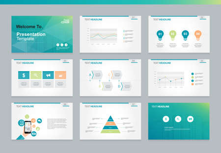 Ilustración de Page layout design template for business presentation page with page cover background design and infographic elements design - Imagen libre de derechos