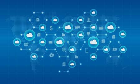 Illustration pour Technology cyber cloud network and connection background concept - image libre de droit