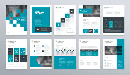 Ilustración de business company profile ,annual report , brochure , flyer, presentations,magazine,and book layout template, with page cover design and info chart element. vector a4 size for editable. - Imagen libre de derechos