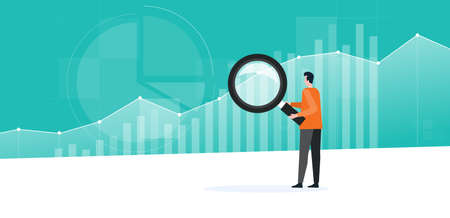 Illustration pour Business people working analytics and monitoring investment finance plan on report graph dashboard concept - image libre de droit