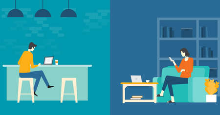 Illustration pour flat vector  business smart working  and working  online  any workplace concept - image libre de droit