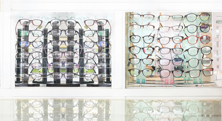 Various of glasses on sale in the shop and department store