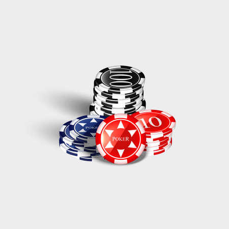 Casino chips stacks.on a white background. Vector