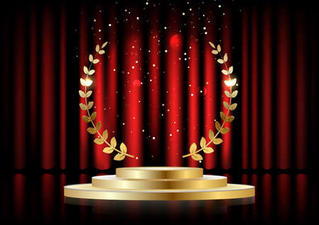 Illustration pour Golden laurel wreath over red round podium with steps in front of the curtains. Vector illustration - image libre de droit