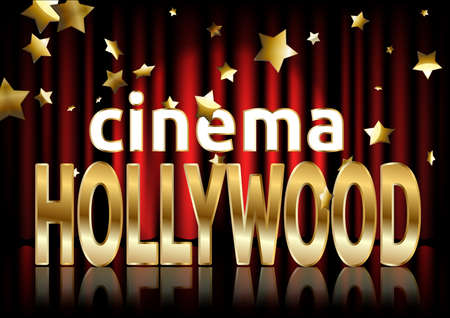 Illustration pour Hollywood cinema. Movie banner or poster in retro style. Vector illustration. - image libre de droit
