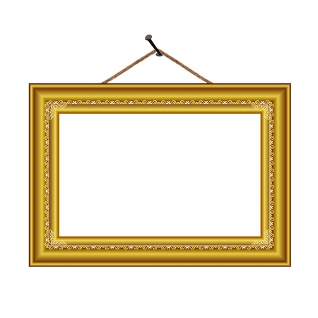 frame with vintage ornament on the nail for image or text - vector